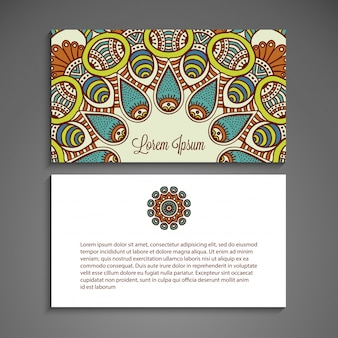 Colorful business card with mandala concept