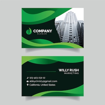 Colorful business card with photo template