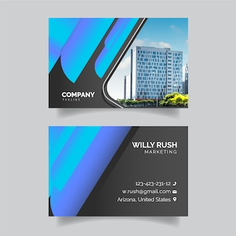Colorful business card with photo