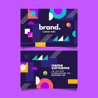 Colorful business card with shapes