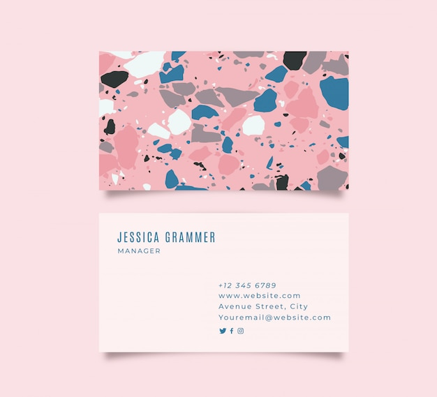 Colorful business card with terrazzo