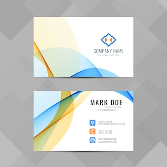 Colorful business card with wavy shapes
