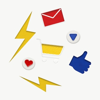 마케팅 세트에 대한 다채로운 비즈니스 그래픽