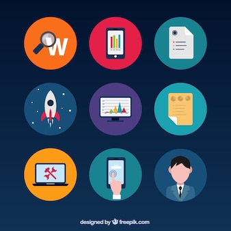 Colorful business icons Free Vector