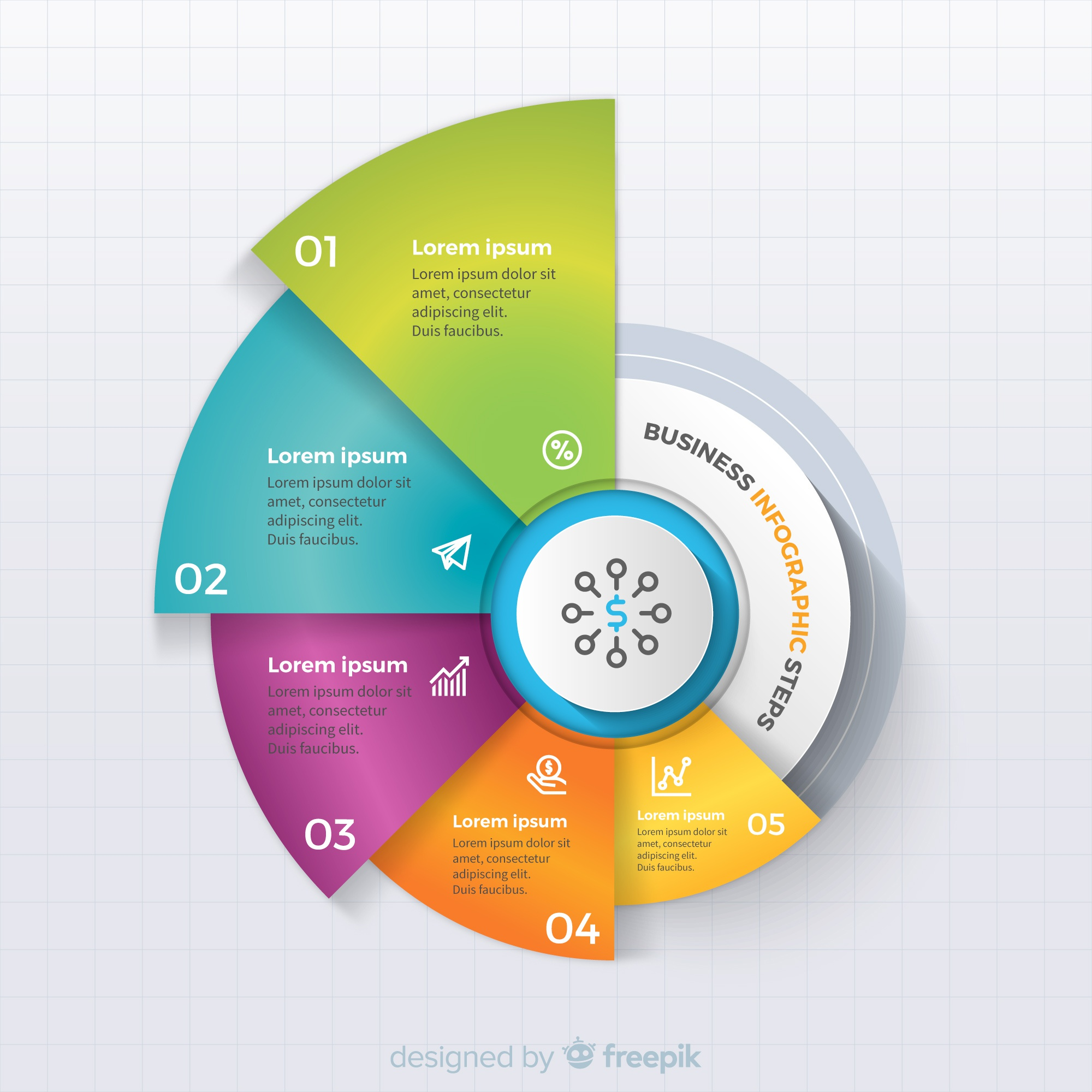 Colorful business infographic steps