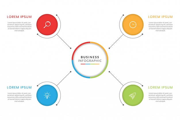 Colorful business infographic with steps or options