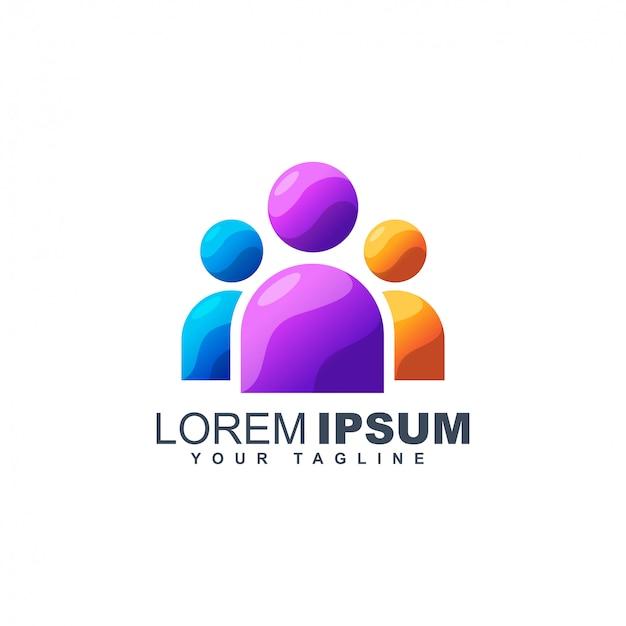 カラフルなビジネス人々の抽象的なロゴデザインテンプレート