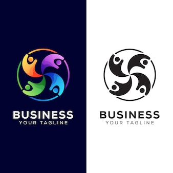 Colorful business people group logo. networking human logo design   template
