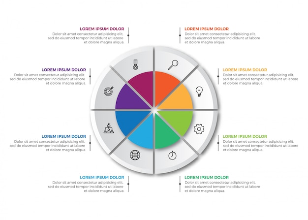 Colorful business pie chart infographic template