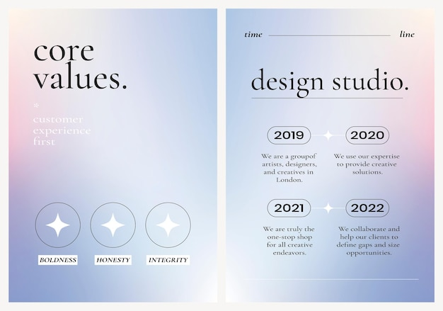 Красочный бизнес плакат вектор на фиолетовом фоне градиента, набор основных ценностей