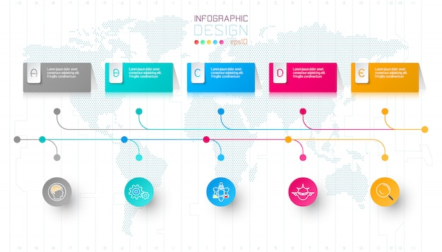 Colorful business rectangle labels shape infographic