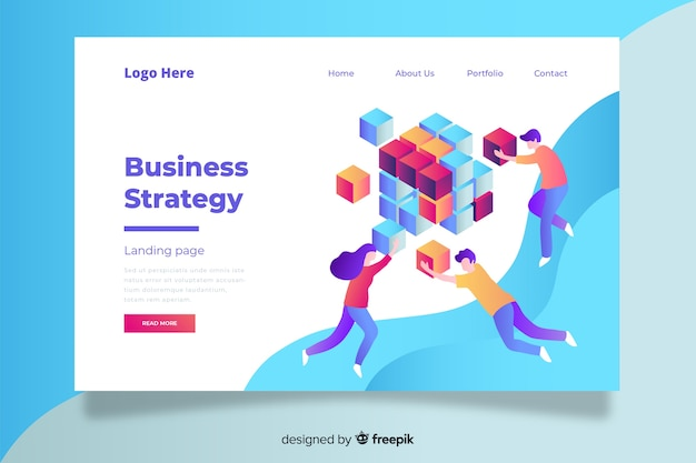 Colorful business strategy landing page with fluid shapes and characters