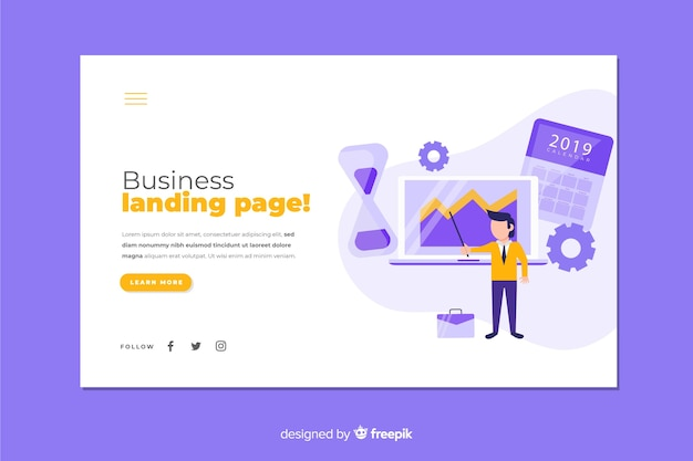 Colorful business strategy landing page