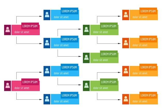 カラフルなビジネス構造の概念、人々のアイコンと企業組織図スキーム。ベクトルイラスト。