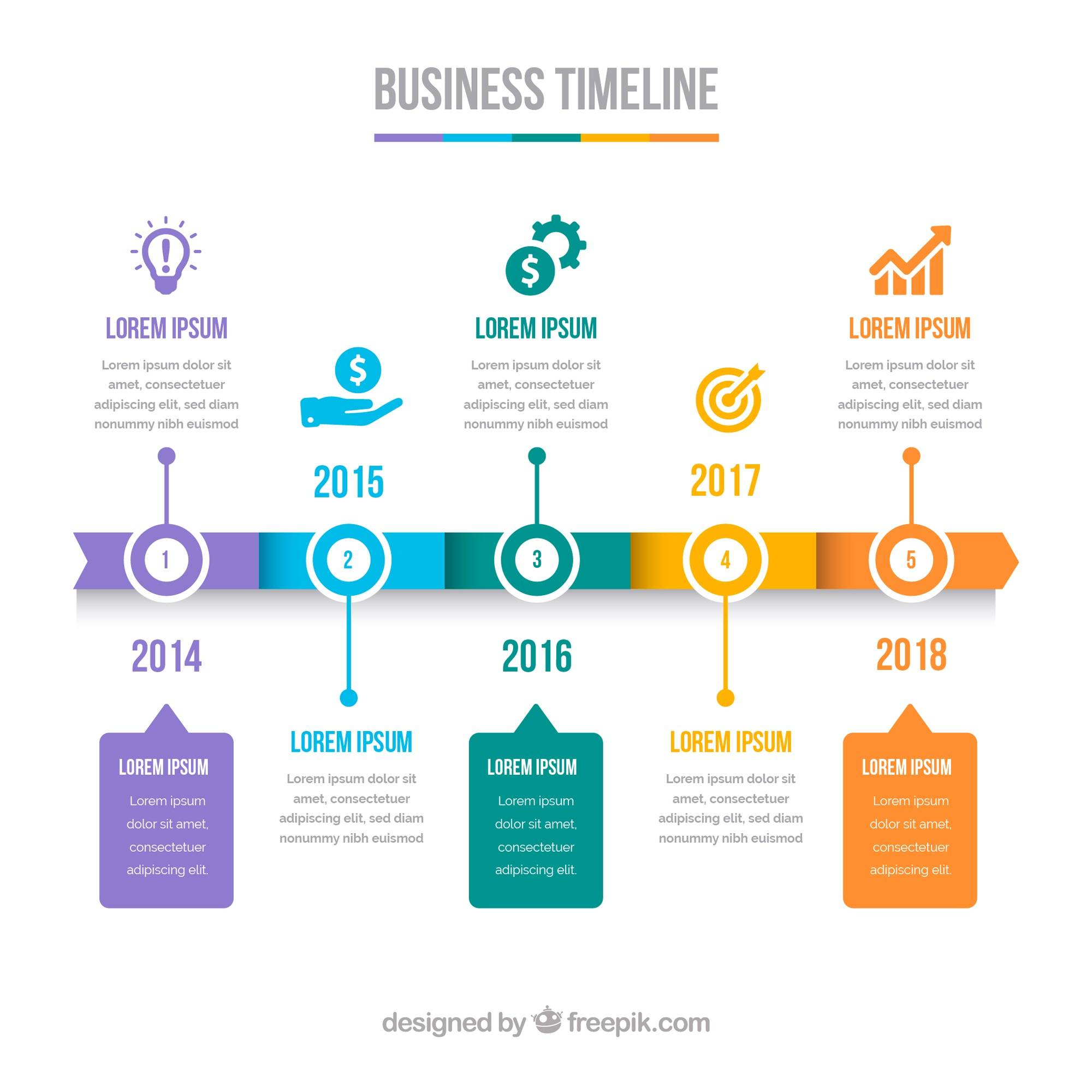 Colorful business timeline with flat design