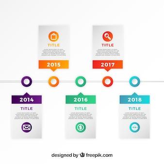 フラットデザインのカラフルなビジネスタイムライン