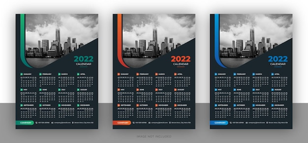 Шаблон оформления красочный бизнес настенный календарь