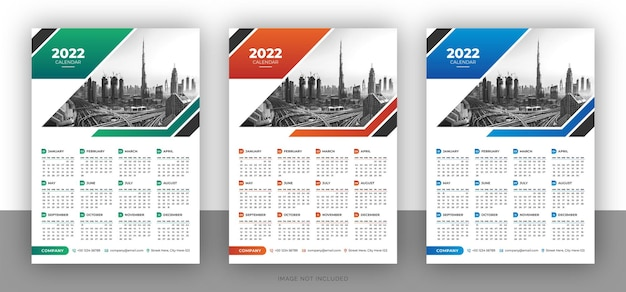 Colorful business wall calendar design template