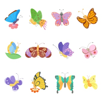 Colorful butterflies flat style insects set