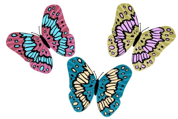 Красочные бабочки в плоском современном стиле. нарисованный от руки