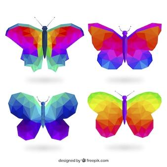 낮은 폴리 스타일의 화려한 나비
