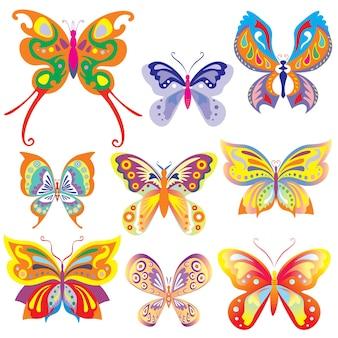 화려한 나비 세트