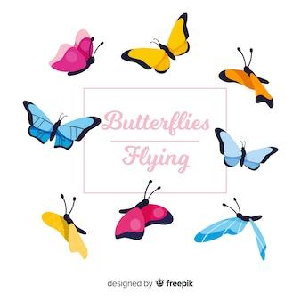 Набор красочных бабочек