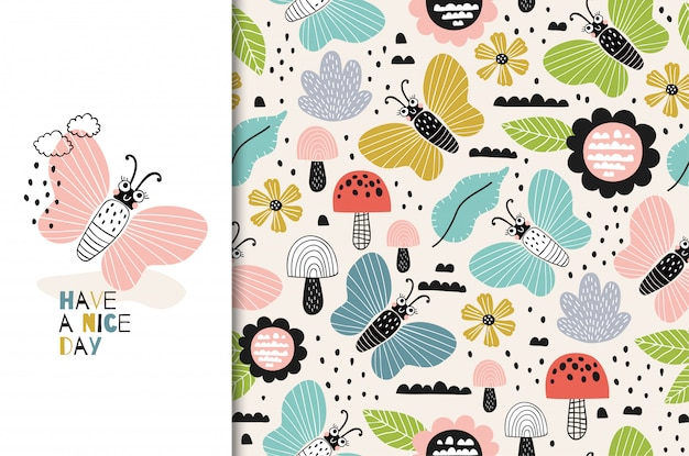 カラフルな蝶の文字アイコン。キッズカードとシームレスな背景。手描き漫画デザインイラスト。