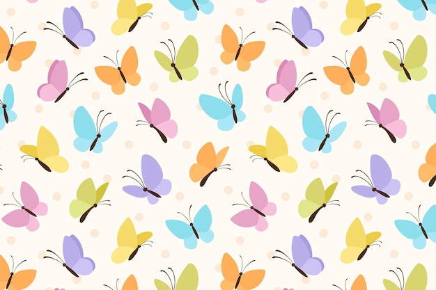 Colorful butterfly cute background pattern vector