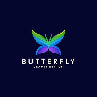 カラフルな蝶のグラデーションアートワークのロゴのテンプレート。動物の抽象的なデザインコンセプト