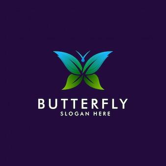 カラフルな蝶のグラデーションアートワークのロゴのテンプレート。動物の抽象的なデザインのベクトルの概念