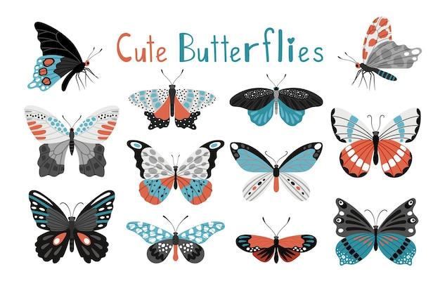 Красочный набор иконок бабочки. мультфильм элегантные бабочки и мотылек, стилизованные разноцветные сосочки дикой природы, векторные иллюстрации существ фауны, изолированные на белом фоне