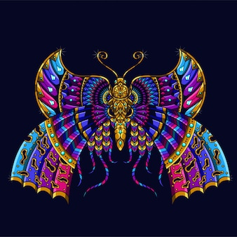 Colorful butterfly illustration, mandala zentangle and tshirt design