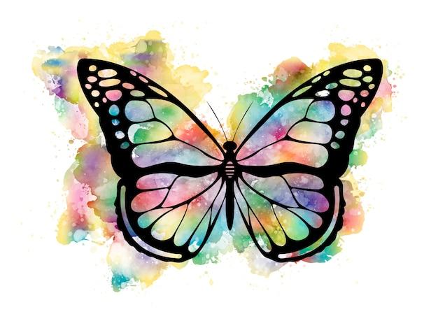 수채화의 화려한 나비 프리미엄 벡터