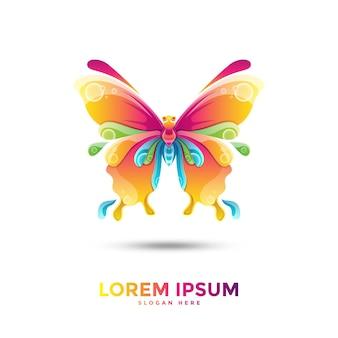 Красочный шаблон логотипа бабочки
