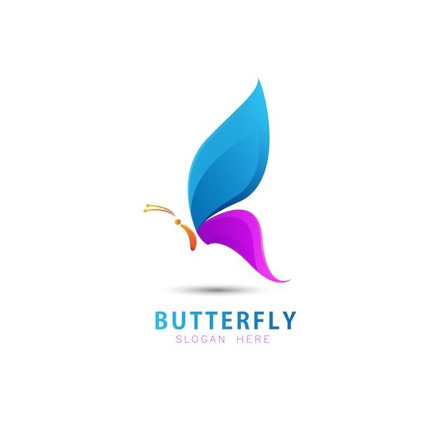 カラフルな蝶のロゴのテンプレート