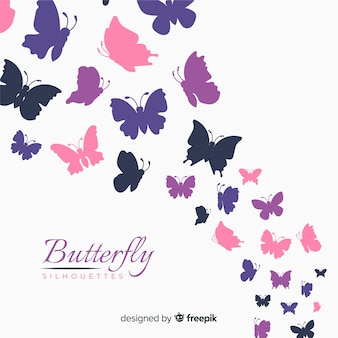 Colorful butterfly silhouettes background