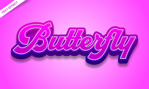 Colorful butterfly text effect design