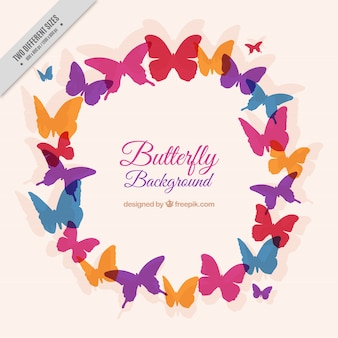 Colorful butterfly wreath background