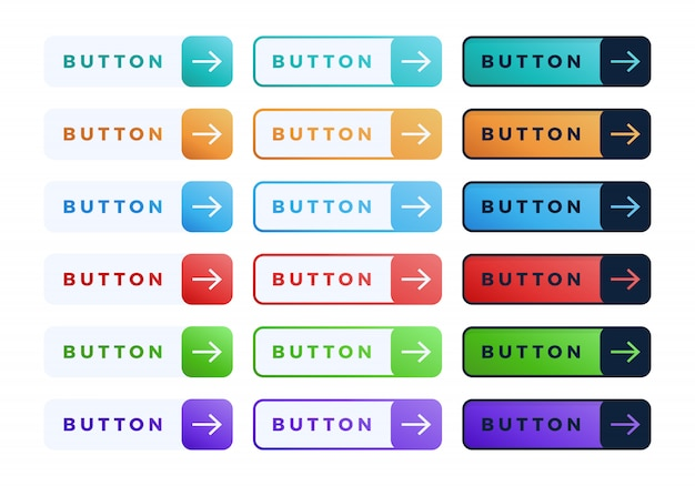 Colorful button set. three style flat line gradient slide button collection with text and arrow.