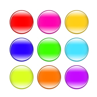 Colorful buttons isolated set design