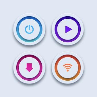 カラフルなボタン。電源、再生、ダウンロード、wi-fiボタン