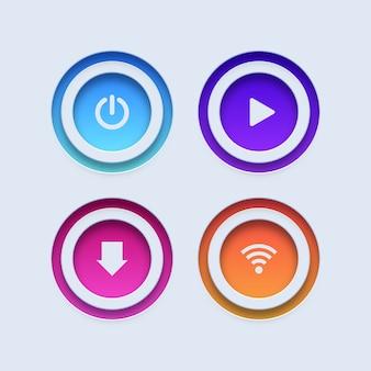 다채로운 단추. 전원, 재생, 다운로드 및 wifi 버튼