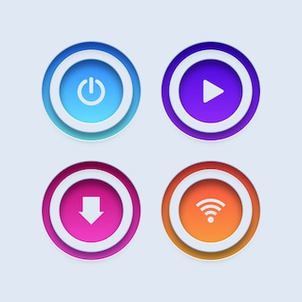 Colorful buttons. power, play, download and wifi buttons