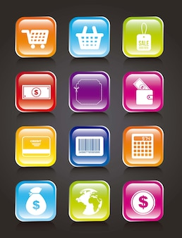 Colorful buy icons over black background vector illustration