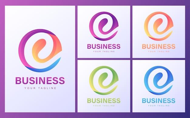 Красочный логотип письмо c с современной концепцией