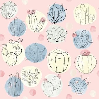 カラフルなサボテンと多肉植物のシームレスパターン