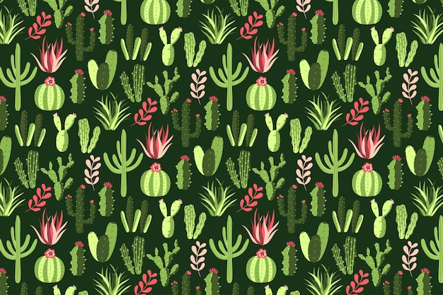 Colorful cactus pattern background