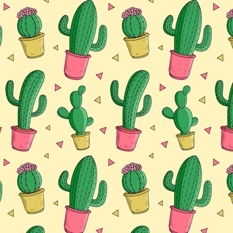 Colorful cactus pattern Free Vector