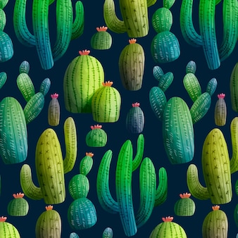 カラフルなサボテンパターン